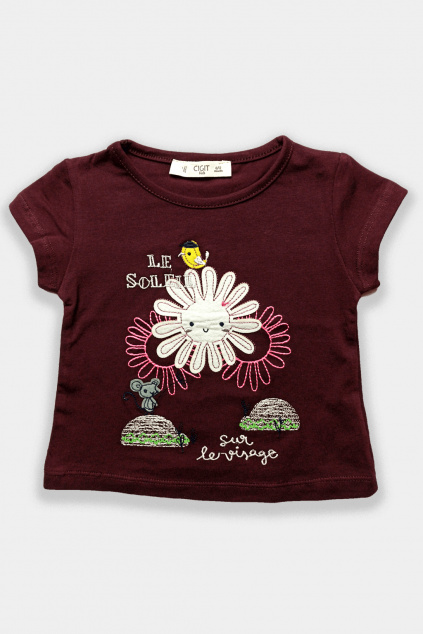 Dívčí tričko Sluníčko v hnědé barvě
