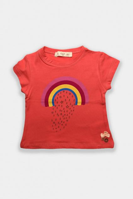Dívčí tričko cihlově červená Duha