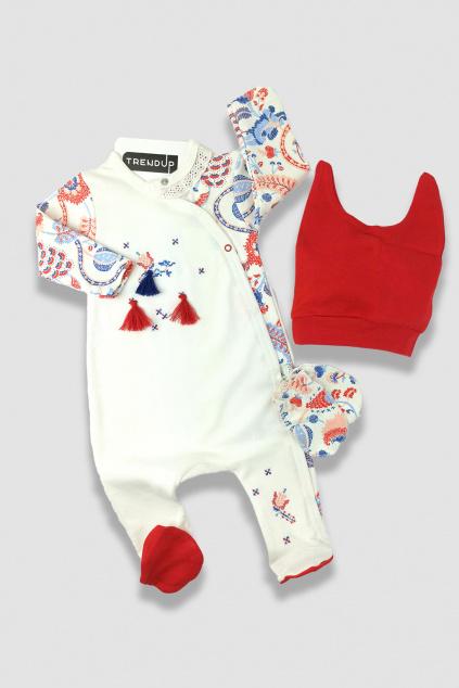 Overal kojenecký s čepičkou Folklórní styl