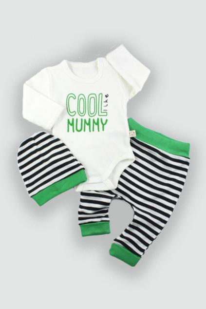 Dětské oblečení čepice body a kalhoty Cool zelená