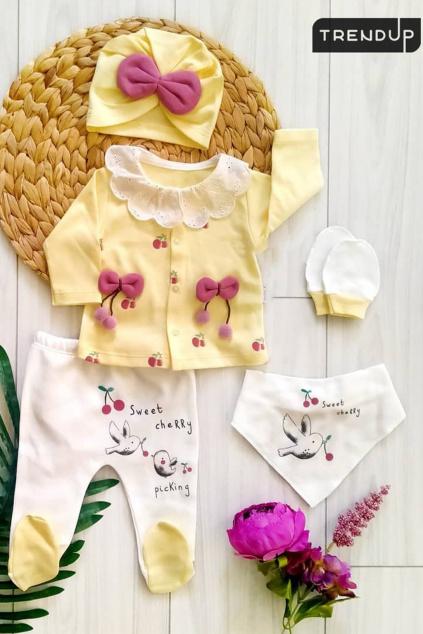 5 dílná kojenecká souprava Třešnička žlutá 1024