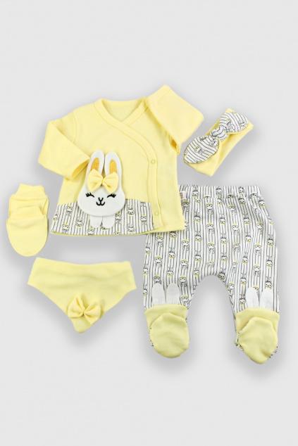 5 dílná kojenecká souprava Bunny Girl žlutá