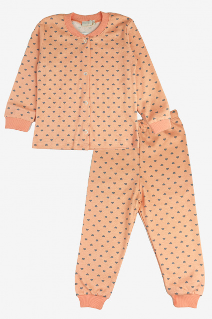Dívčí pyžamo Love lososove