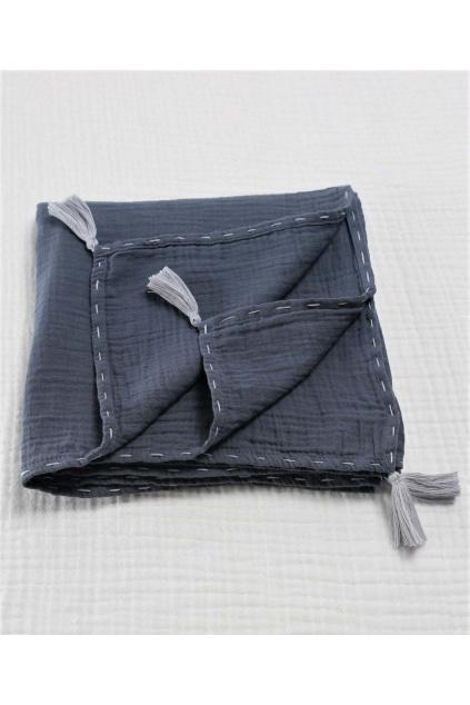 Mušelínová zavinovací deka se střapci 100x100 kouřová 1