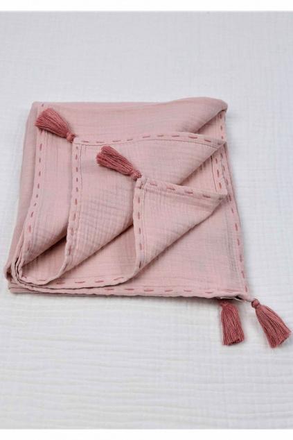 Produkt Mušelínová zavinovací deka 100x100 cm růžová