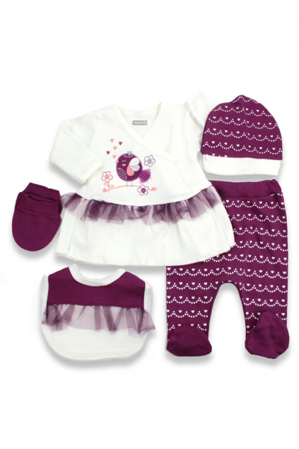 5 dílná kojenecká souprava fialová