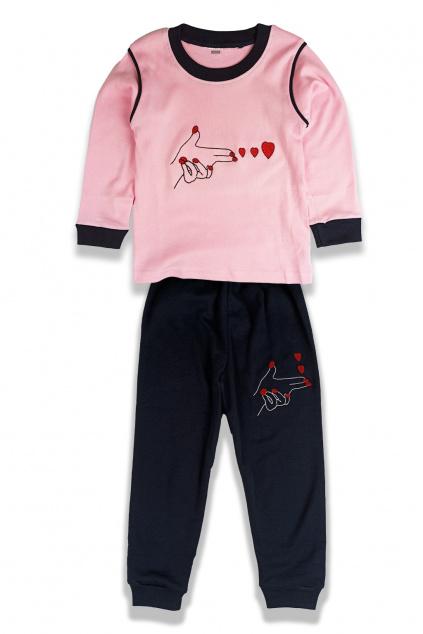 Dvojdílné dívčí pyžamo , růžová