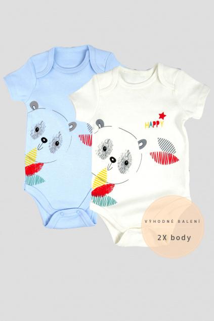 Bavlněné kojenecké body, výhodné balení, bílá modrá
