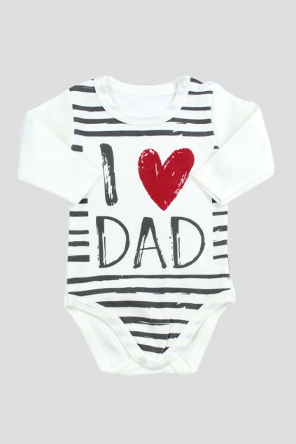Bavlnene body bile dlhy rukav I love Dad