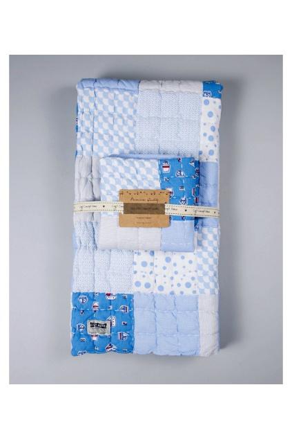 Luxusní Bavlnená Patchwork Přikrývka a Polštář Cigit Premium Modrá1
