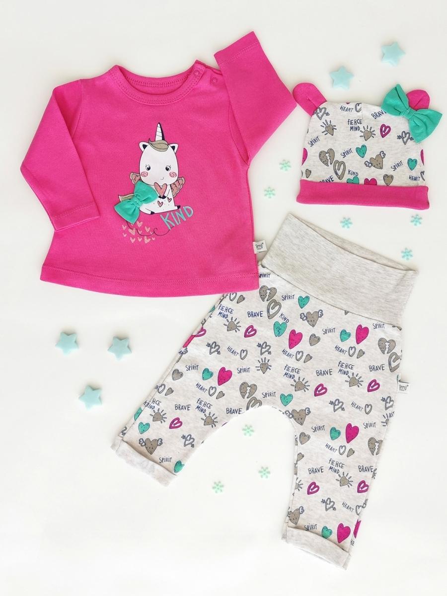 3-dílná souprava tričko, kojenecké kalhoty, čepice Unicorn 2, růžová Velikost: 62