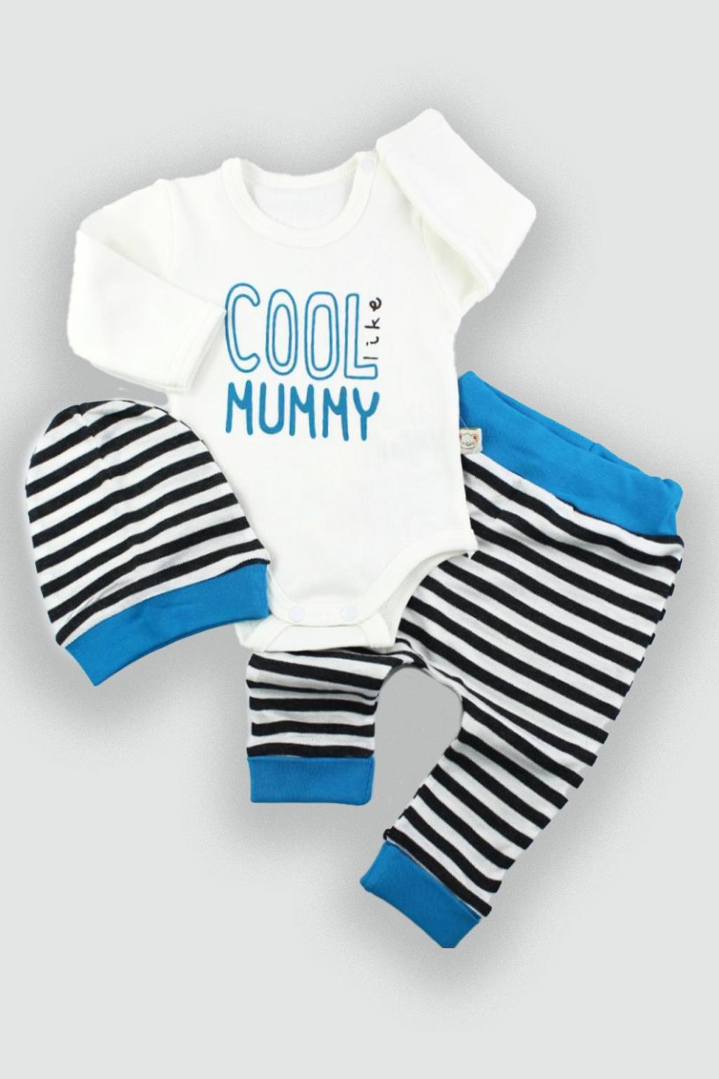 Dětské oblečení čepice kojenecké body a kalhoty modrá Velikost: 62
