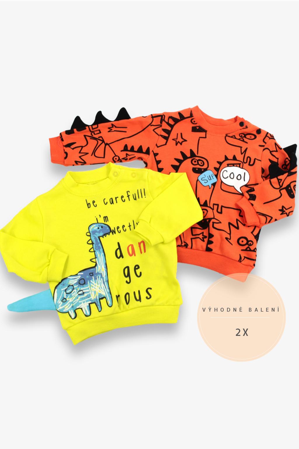 Chlapecké mikiny Dinosaur 2-pack, oranžová, žlutá Velikost: 62
