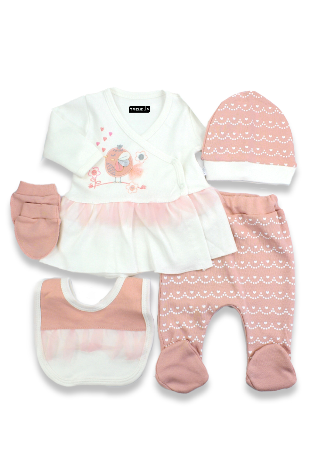 5-dílná kojenecká souprava lososová růžová