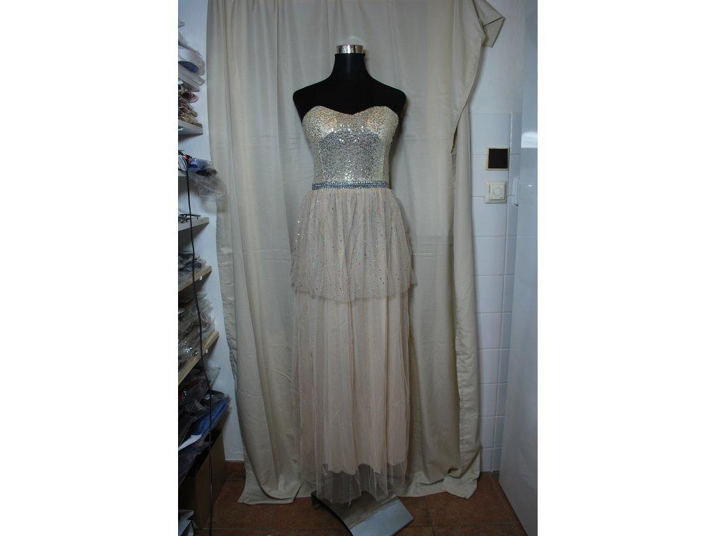 A Plesové šaty béžové se zlatými flitry 0011