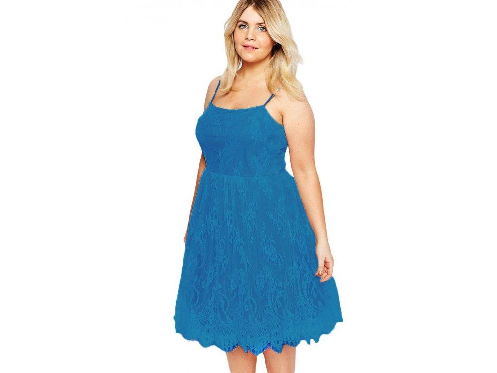 A Elegantní krátké krajkové šaty modré 0711