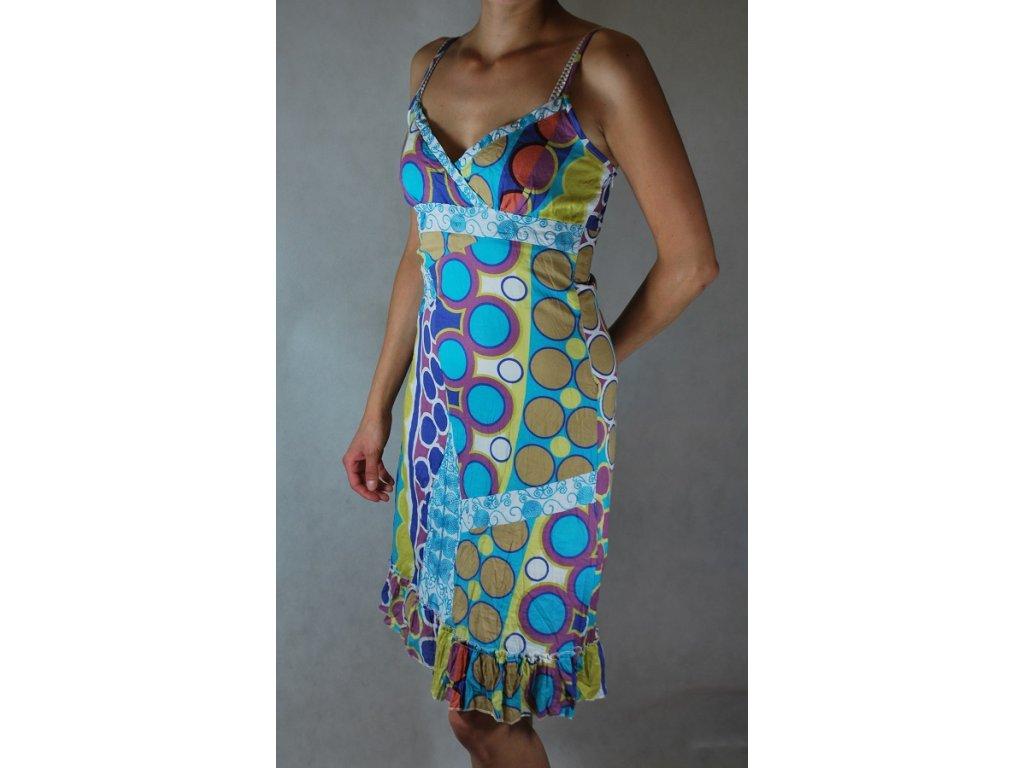 Bavlněné šaty krátké letní vzory FD20 tyrkysové