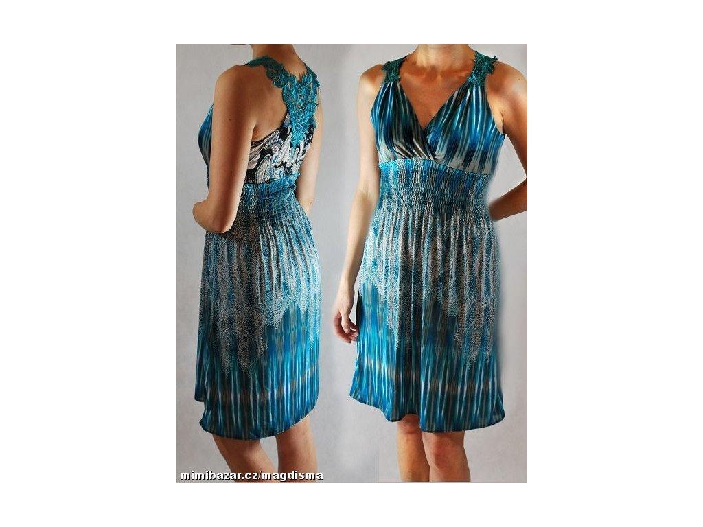 A Letní šaty tyrkysové s krajkou na pláž či k moři 420 - trendy ... 38099e8b62c