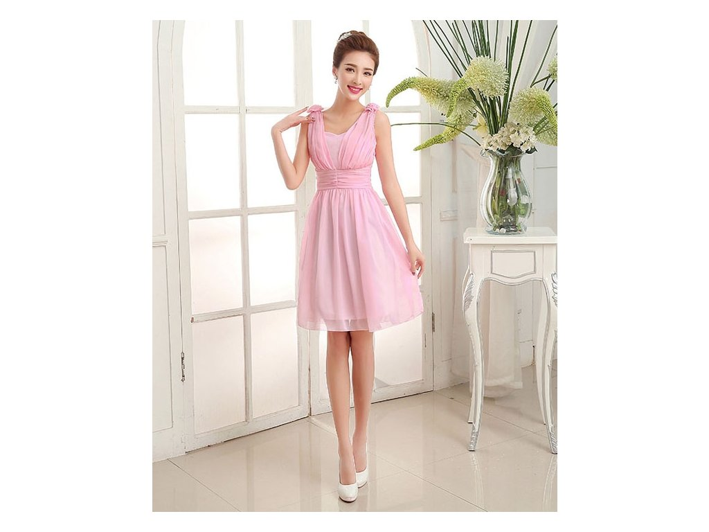 A Krátké růžové společenské šaty 17121 - trendy-obleceni.cz c6638391ee