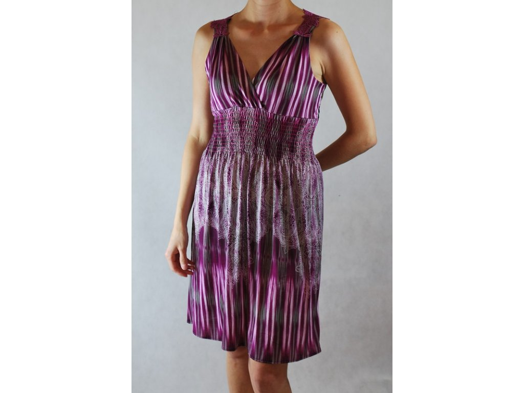 A Nádherné vzorované letní šaty fialové s krajkou LL190C