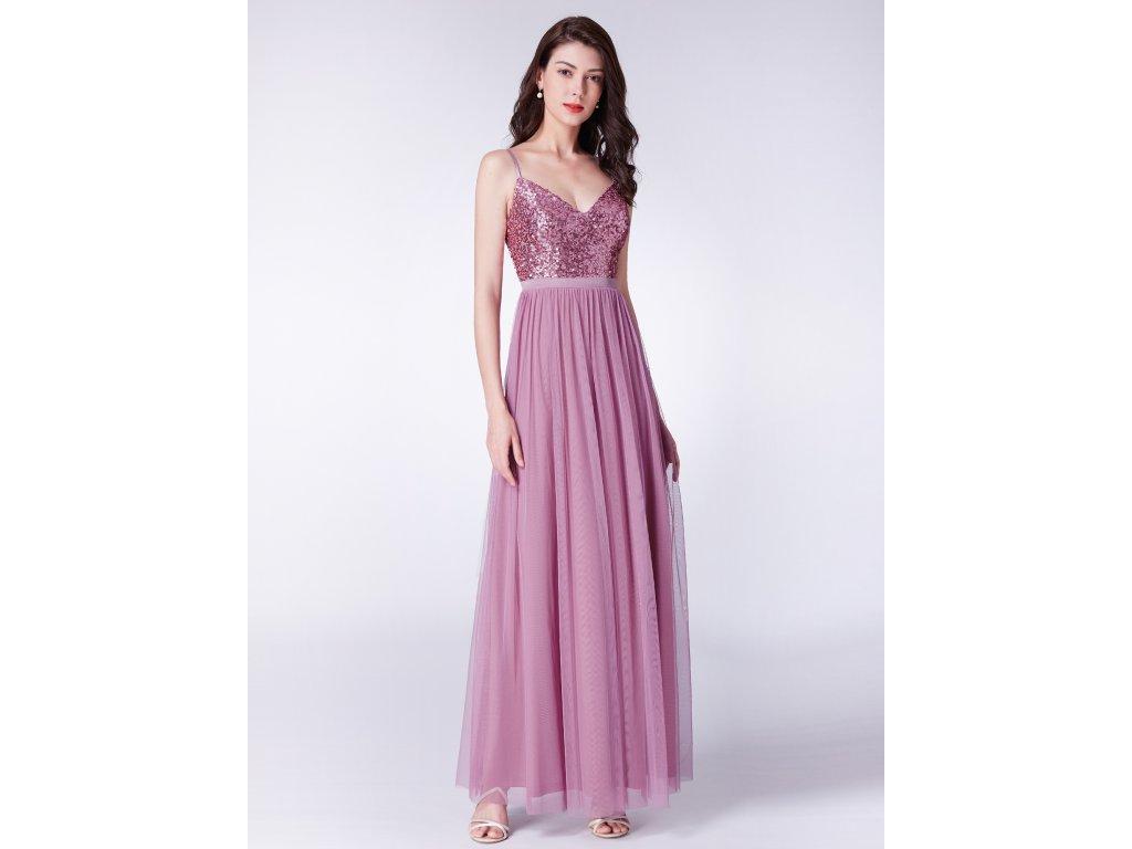 Dlouhé růžové šaty s flitry na špagetová ramínka