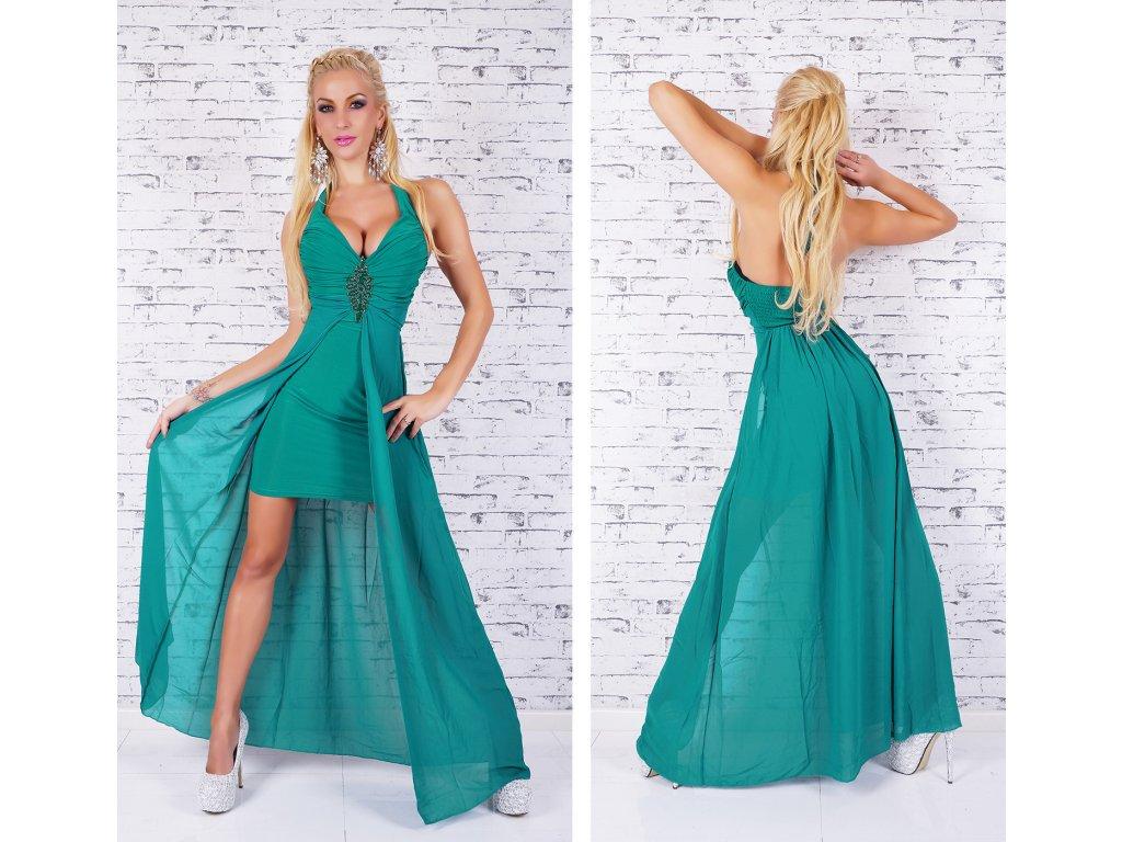 0c011bc1ab3d Luxusní zelené šaty se zdobením ST125 - trendy-obleceni.cz