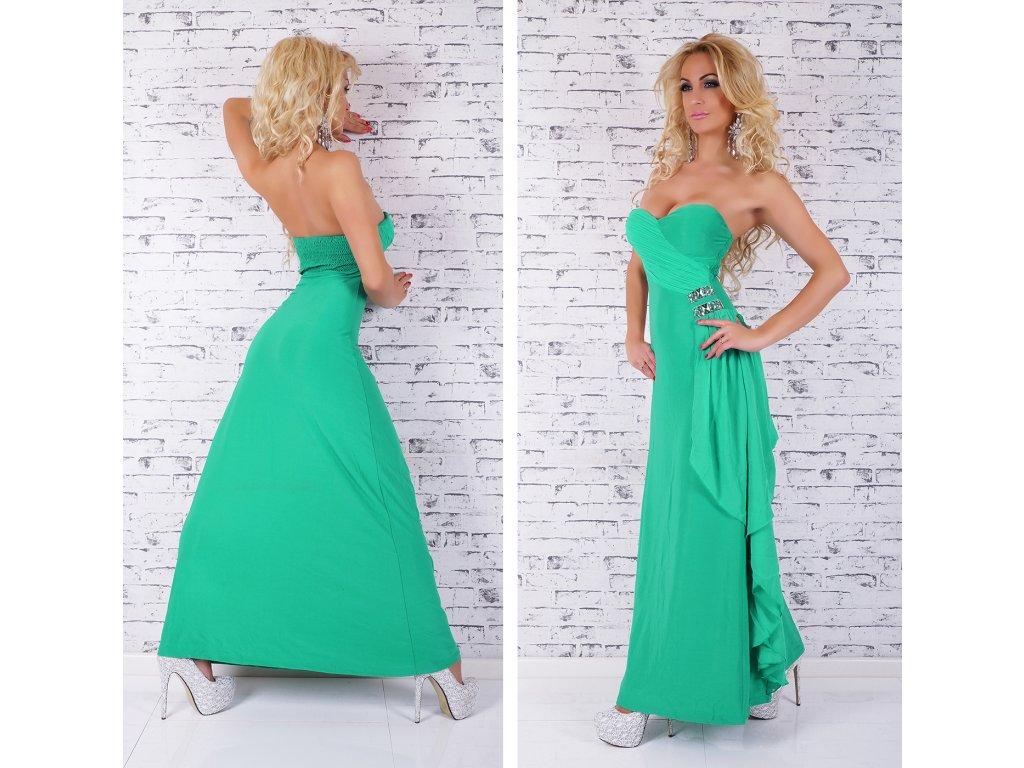 d9fffceff65f Luxusní zelené šaty se zdobením ST208 - trendy-obleceni.cz