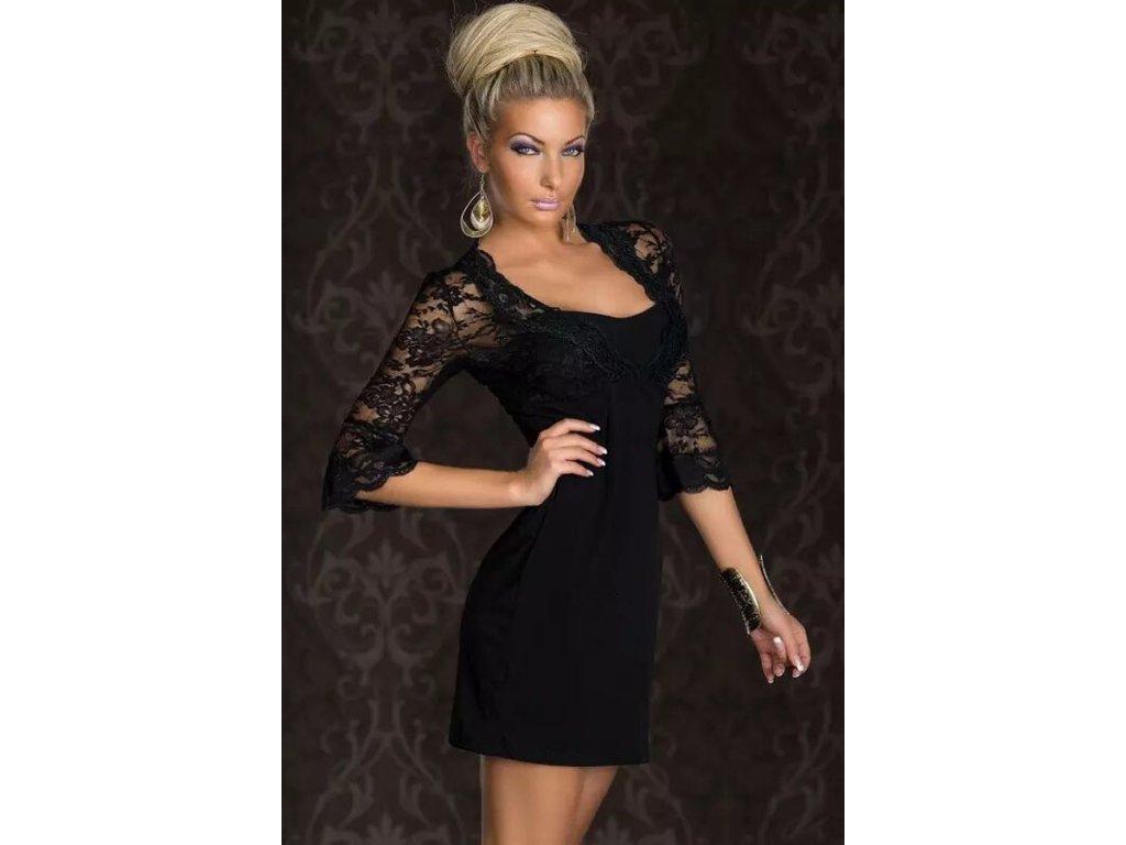 A Luxusní černé krajkové šaty s dlouhým rukávem 4146