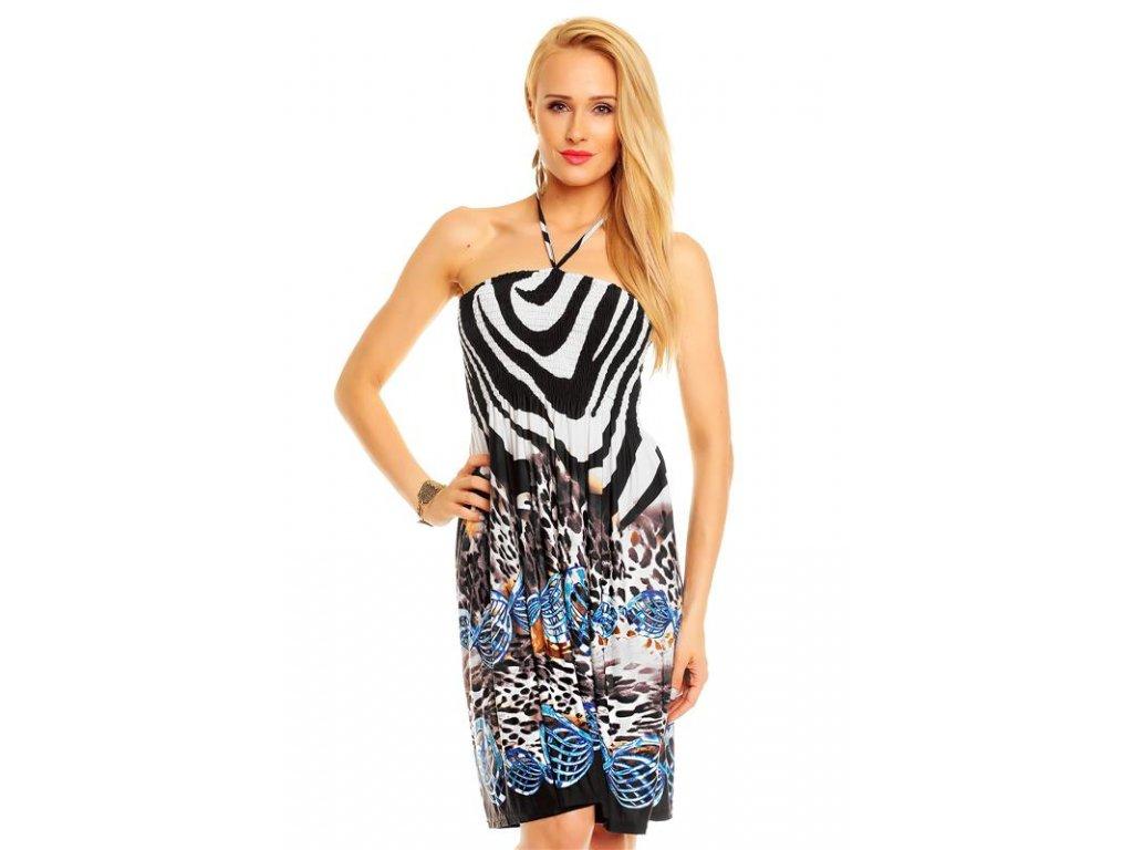 A Šaty letní plážové,elegantní, zebrované modré