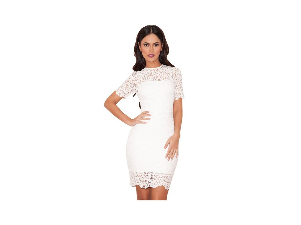 white lace short sleeve bandage dress lc28308