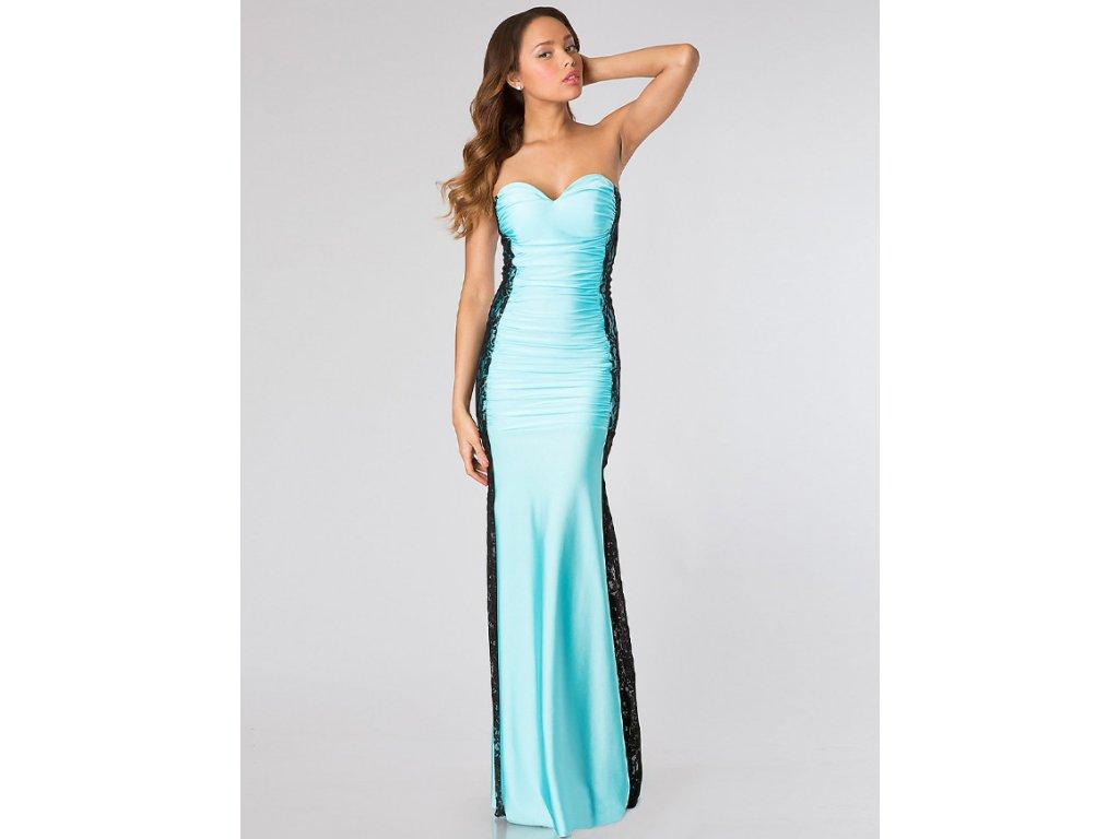 A Plesové šaty dlouhé modré s krajkou 0210