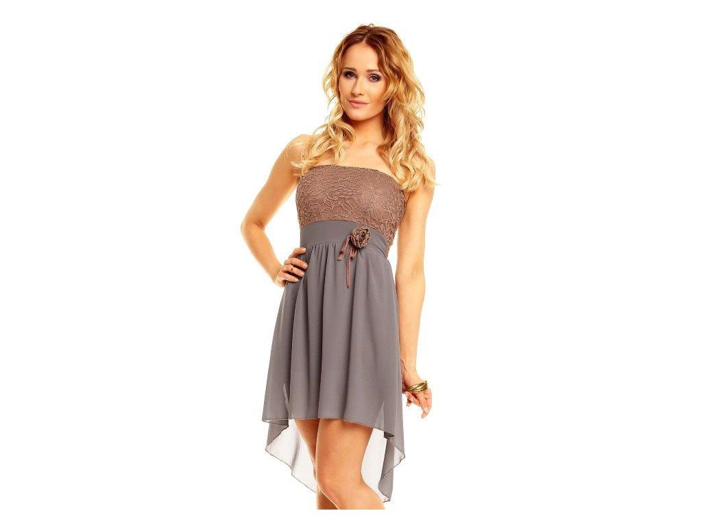 A Šaty do tanečních asymetrická sukně - hnědé