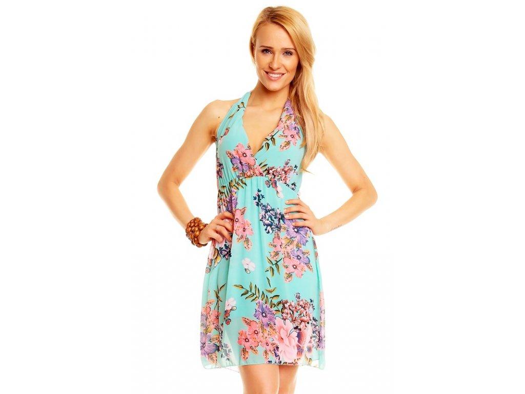 A Letní šaty mentolové květované