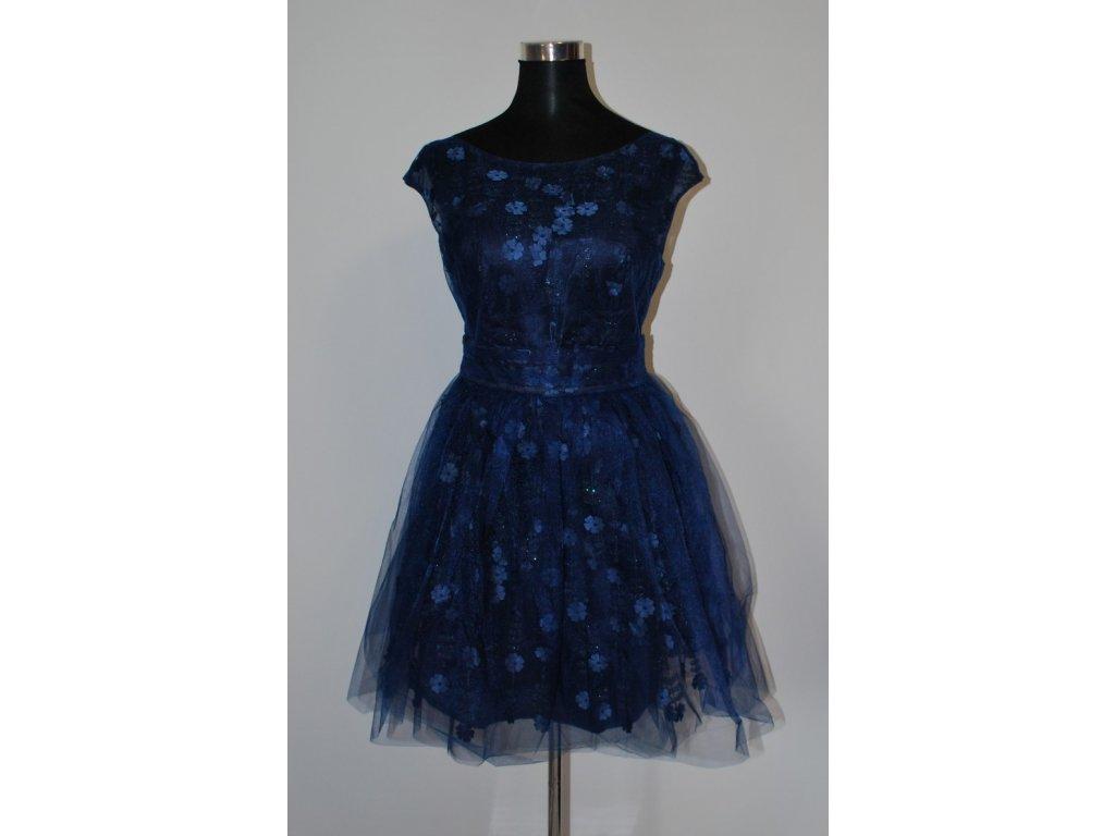 1e197bba513 Dámské krátké modré šaty Eva   Lola Diana 2088 - trendy-obleceni.cz