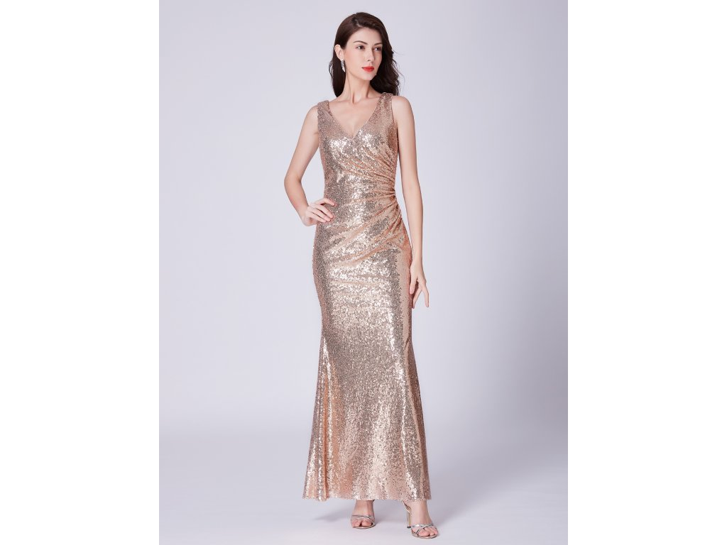 2235c2d28500 Ever Pretty zlaté flitrované šaty 7405 - trendy-obleceni.cz