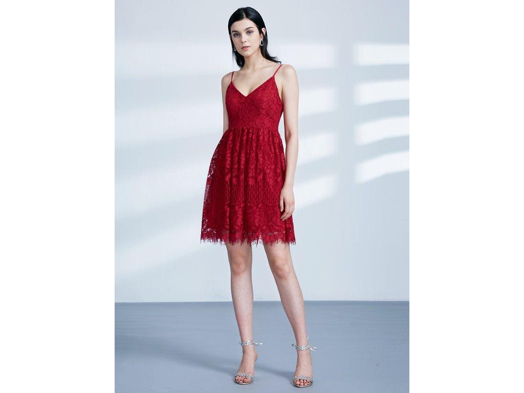 0c33b4f4508 Krátké dámské červené šaty s krajkou 4113 - trendy-obleceni.cz