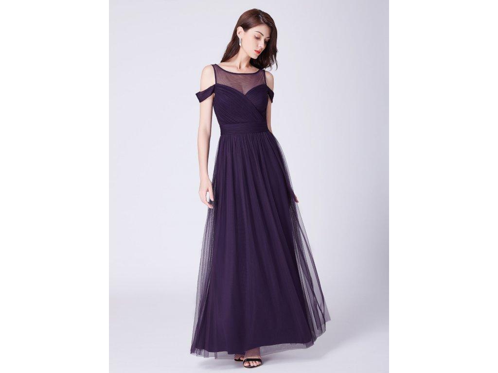 0c082d82e5d Luxusní dlouhé fialové šaty 7441 - trendy-obleceni.cz