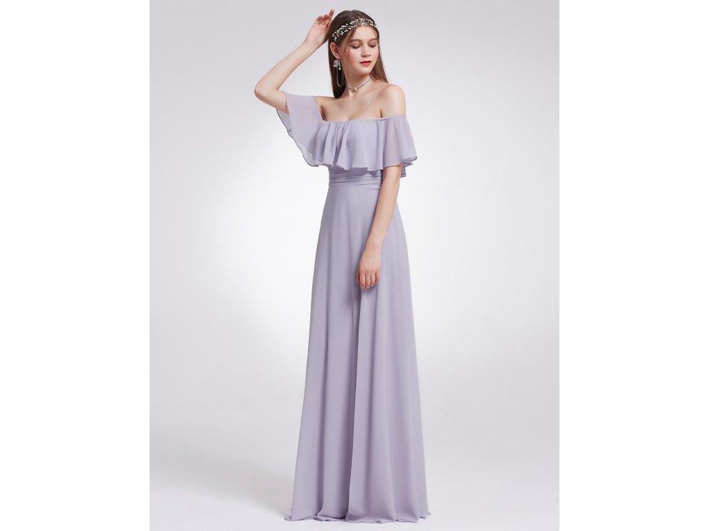 Ever Pretty šaty fialové dlouhé s volánkem 7171 0aedbfff02