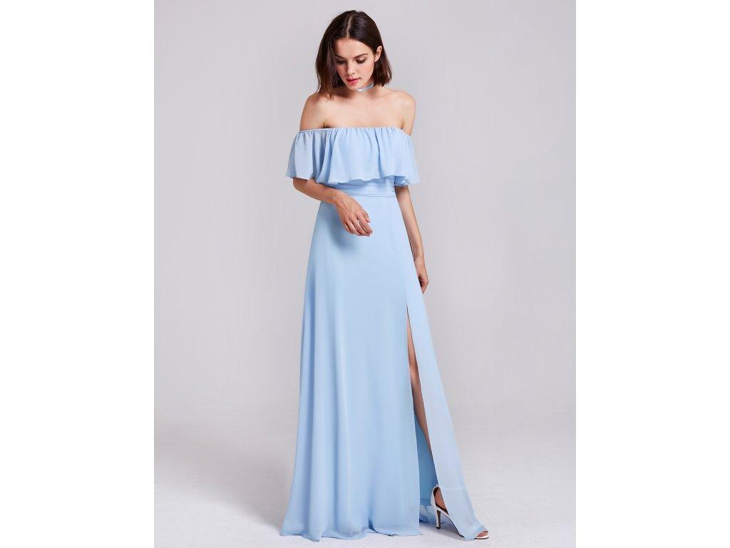 a5cbbfb89dc Ever Pretty šaty světle modré dlouhé s volánkem 7171 - trendy ...
