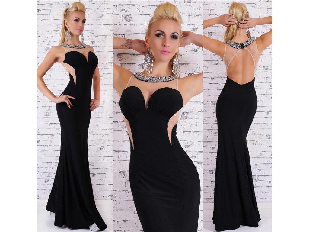 Večerní šaty černé elegantní glamour ST130