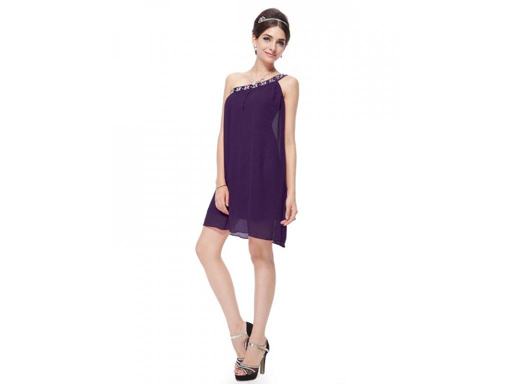 Ever Pretty šifonové šaty krátké fialové 3388