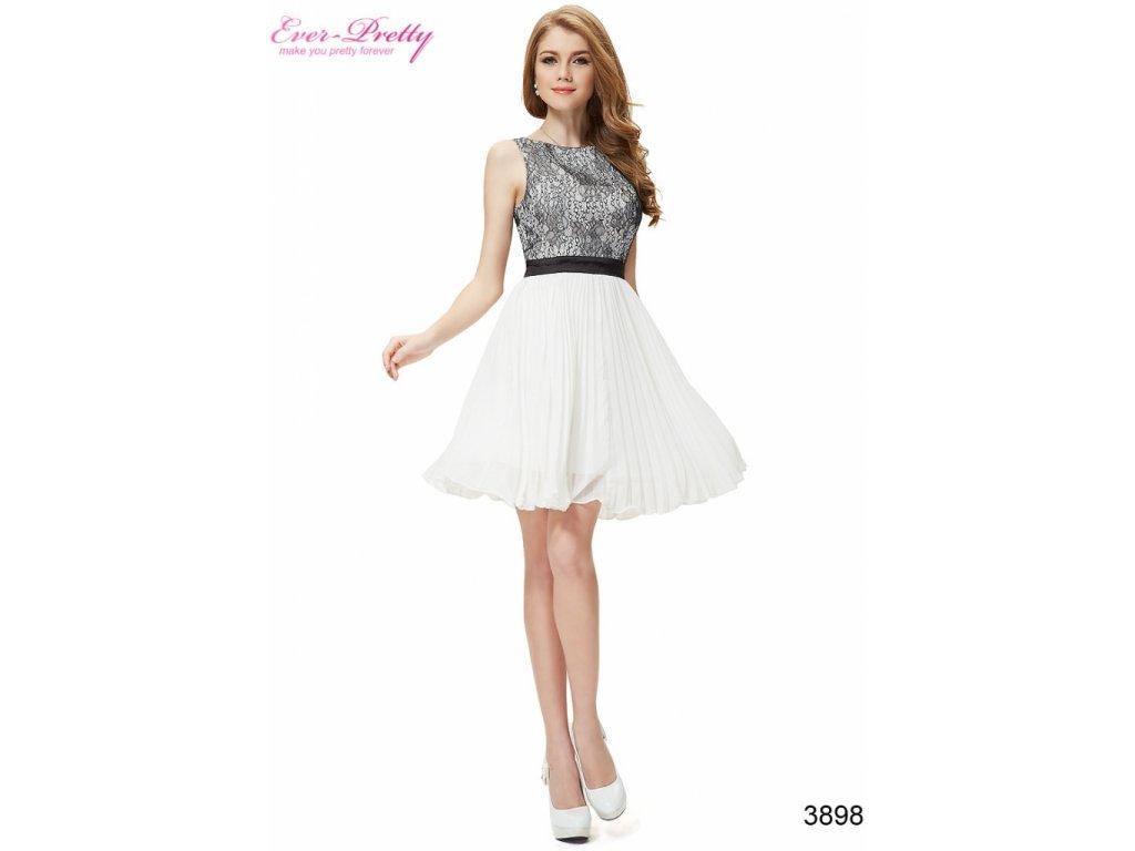 Ever Pretty šifonové šaty krátké bílé s krajkou 3898 - trendy ... f4bb639e831