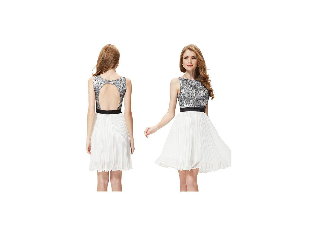 Ever Pretty šifonové šaty krátké bílé s krajkou 3898