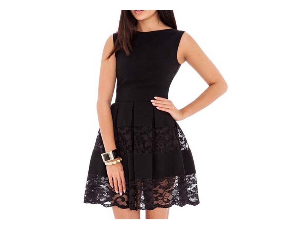 Skater šaty černé barvy s krajkou 49-1