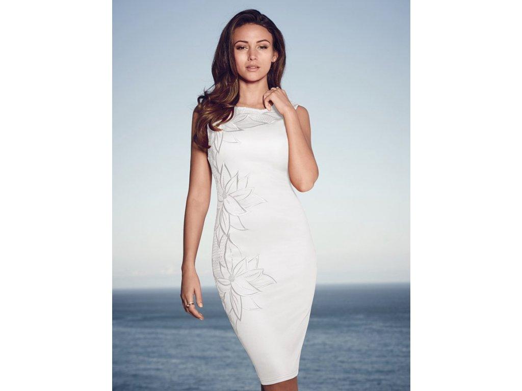 A Šaty elegantní bílé s výšivkou OH59-2