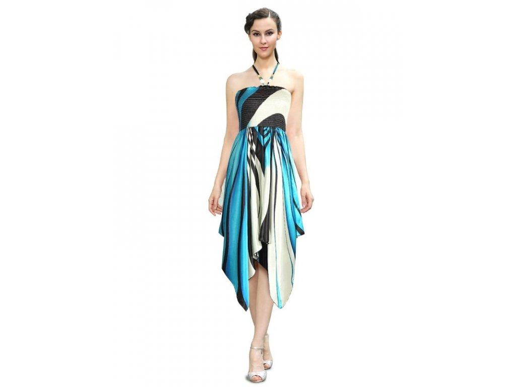 Šaty letní zebrované modré 6114 BL