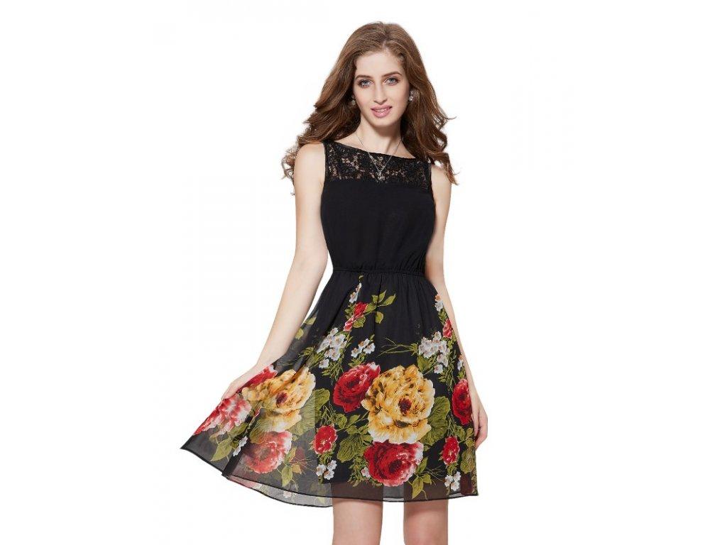 Ever Pretty šaty černé s květy krátké 5190