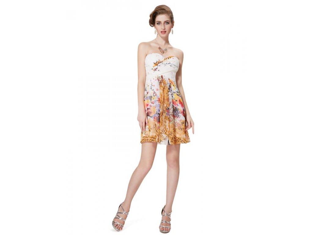 Ever Pretty šaty bílé s květy krátké 5057