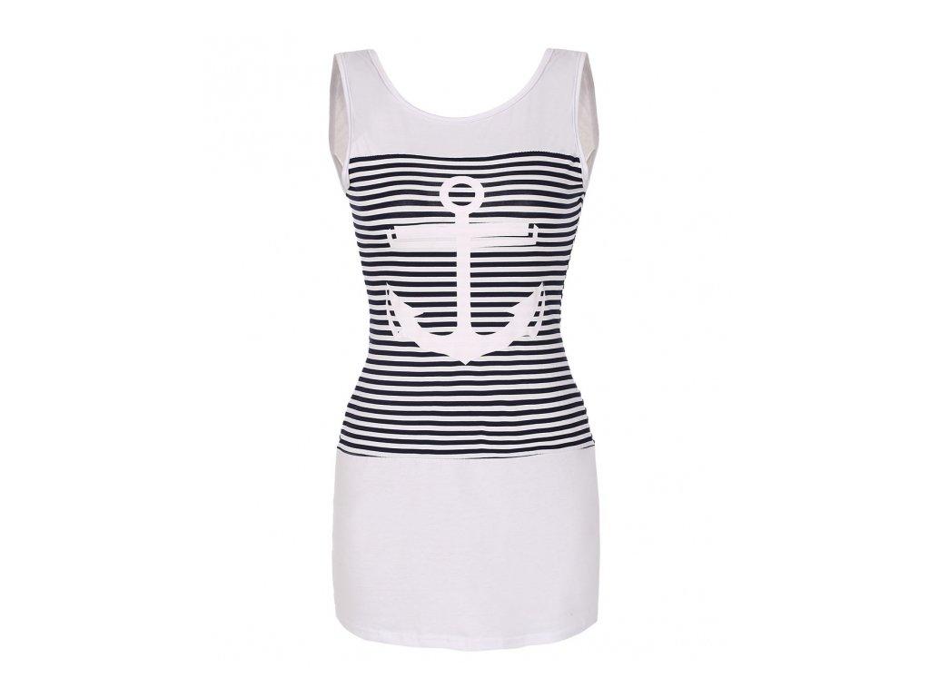A Letní tunika, tričko dlouhé námořnické kotva bílé