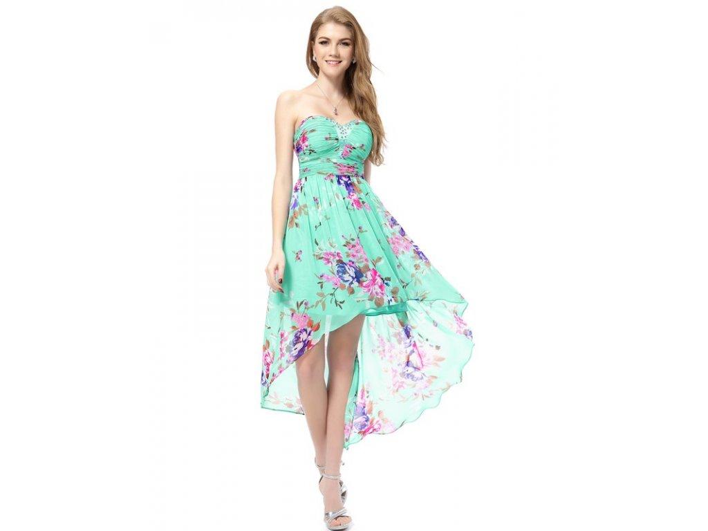 Ever Pretty šaty letní tyrkysové s květy 5094